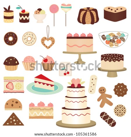 Colorful pastry collection - stock vector