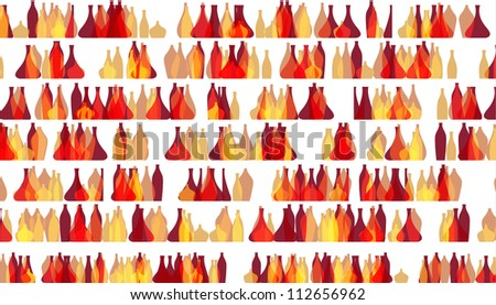 Colorful pattern of bottles standing in long rows isolated on white, EPS10 vector