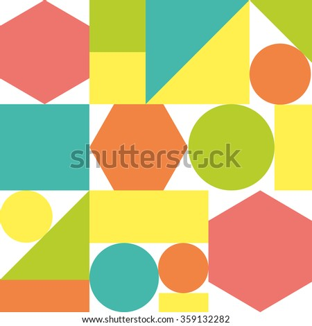 Colorful pattern of geometric shapes. Vector abstract seamless background.  - stock vector