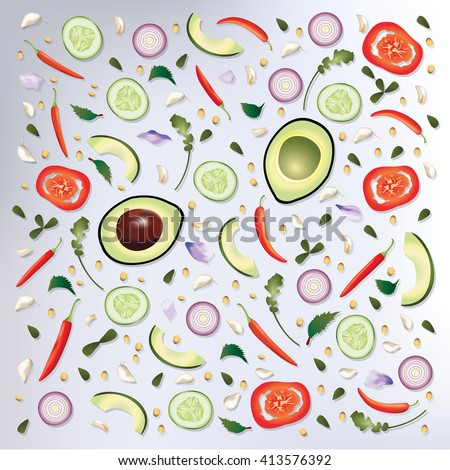 Colorful pattern Raw Food Background Vector Illustration - stock vector