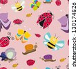 colorful pattern with butterflies ladybug - stock vector