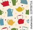 Colorful pattern with different teapots. Kettles backdrop. Seamless kitchen tracery can be used for prints, tablecloths, wallpapers, web pages, crafts - stock vector