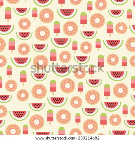 Colorful pattern with watermelons, ice cream and donuts. - stock vector