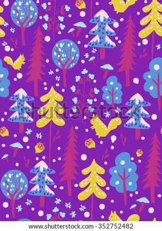 Colorful pattern with winter forrest with squirrel, trees, fir, snow, flower and acorn. Blue, violet, yellow. - stock vector
