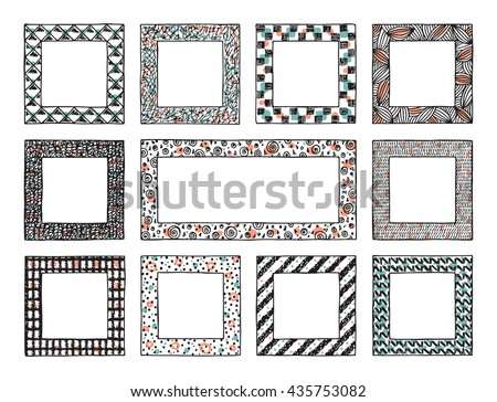 Colorful Patterned Frames Vector Set Hand Stock Vector 435753082 ...