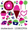 Colorful patterned Muffins set isolated on white - stock vector