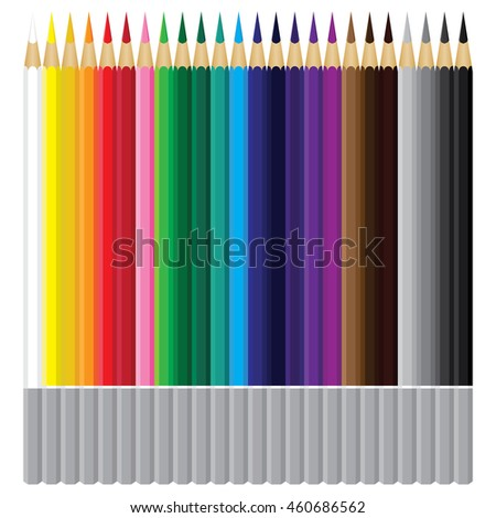 Colorful pencil on white background. Beautiful pencil on design.