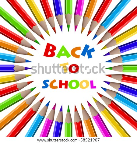 Colorful pencils background - Back to School. - stock vector