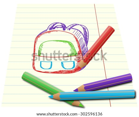 Colorful pencils drawing school backpack on lined paper - stock vector