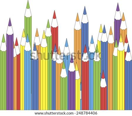 colorful pencils; gay life vector; rainbow people vector; gay pairs; homosexual pairs; homosexual life - stock vector