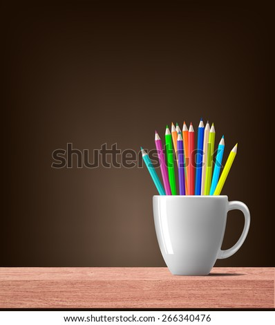 Colorful pencils in white cup on wooden table and shaded color background - stock vector