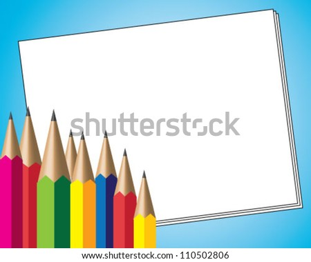 Colorful pencils with blank paper over blue background - stock vector
