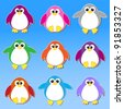 Colorful penguins stickers.Vector eps10 - stock vector