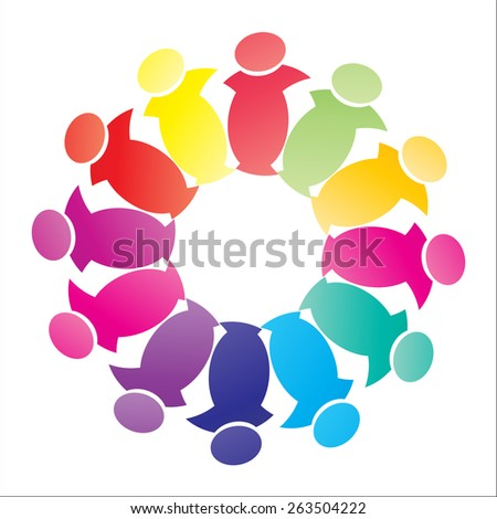 colorful people, children, employees icons collection - vector graphic. Vector represents love, unity, solidarity, alliance, union, teamwork, organization, together, group - stock vector