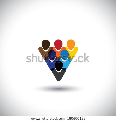 colorful people community showing unity & integrity - concept vector. This graphic also represents internet community, online social network & community, social media, employees, office staff, etc - stock vector