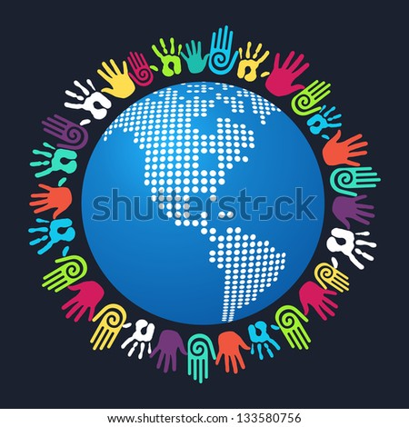 Colorful people hand around America world map. Vector file layered for easy manipulation and custom coloring. - stock vector