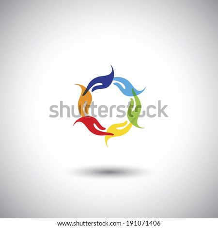 colorful people's hands multi racial community - concept vector. The graphic illustration also represents harmony, balance, togetherness, friendship  - stock vector