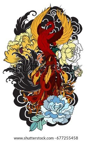 Colorful Phoenix Fire Bird Peony Flower Stock Vector Royalty Free