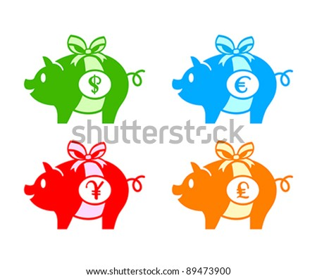 Colorful piggy banks for dollar, euro, yen(or yuan) and pound coins - stock vector
