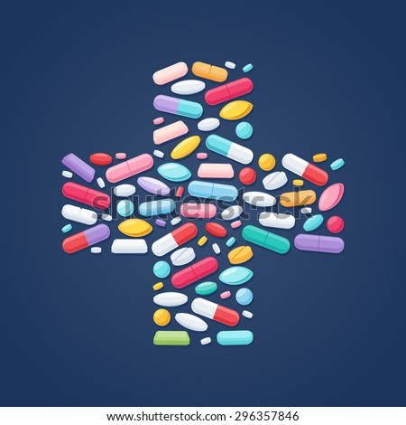Colorful pills tablets capsules icons in cross shape vector background. Medicine health care symbols. - stock vector