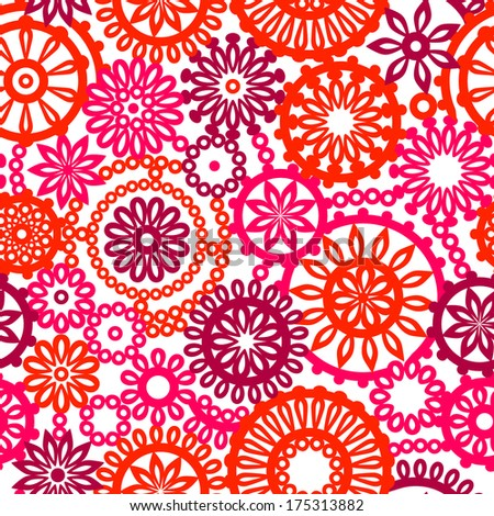 Colorful pink and red geometric flowers on white seamless pattern, vector - stock vector