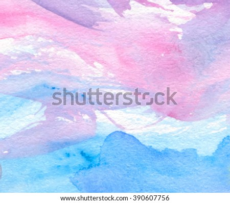 Colorful pink violet blue indigo white watercolor torn wave hand drawn paper texture vector decorative banner. Bright wet brush paint strokes card for greeting card, wallpaper, design, decoration, web - stock vector