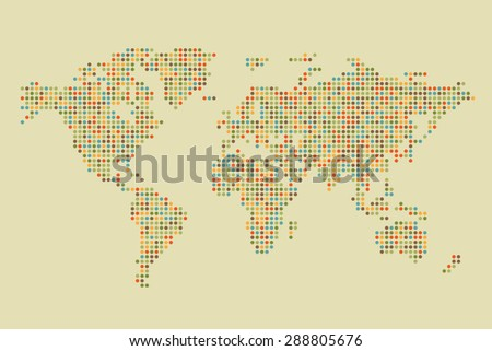 Colorful Pixel World Map - stock vector