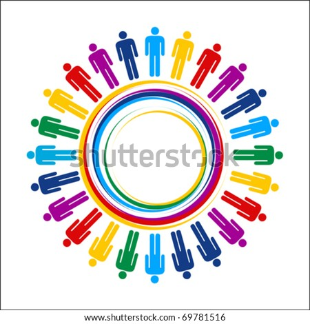 colorful planet business connection - stock vector