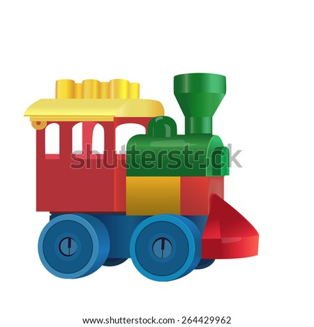Colorful plastic toy train isolated on white background. Vector - stock vector
