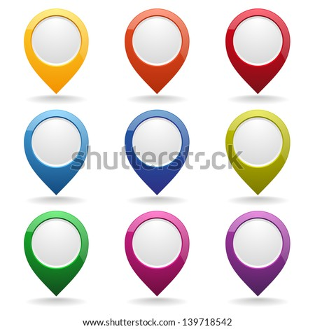 Colorful point buttons - stock vector