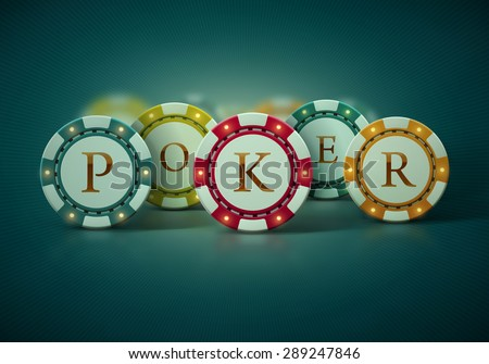 Colorful poker chips, eps 10 - stock vector