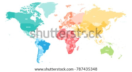 Colorful political map world divided into stock vector 787435348 colorful political map of world divided into six continent with country name labels vector map gumiabroncs Choice Image