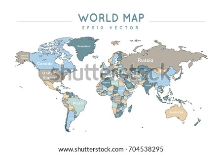 Colorful political world map name borders stock vector 704538295 colorful political world map with the name and borders of the countries gumiabroncs Images