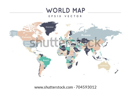 Colorful political world map name borders stock vector 704593012 colorful political world map with the name and borders of the countries gumiabroncs Choice Image