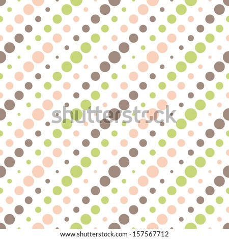 Colorful polka dot seamless vector pattern background. - stock vector