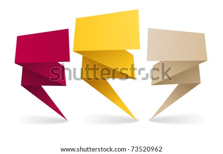 Colorful polygonal origami banners. Place your text here - stock vector