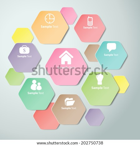 Colorful Polygons Cut Paper Design Template Stock Vector HD (Royalty ...