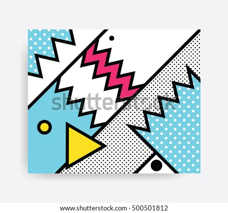Colorful Pop art geometric pattern with bright bold blocks squiggles. Material Design Background in Pink Yellow Blue Black and White. Prospectus, poster, magazine, broadsheet, leaflet, book