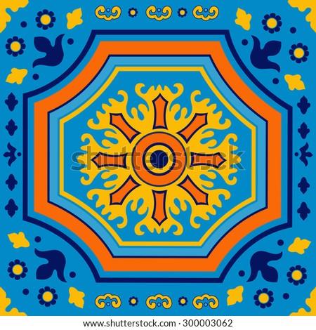 Colorful Portuguese azulejo tile. Illustration in vector format - stock vector