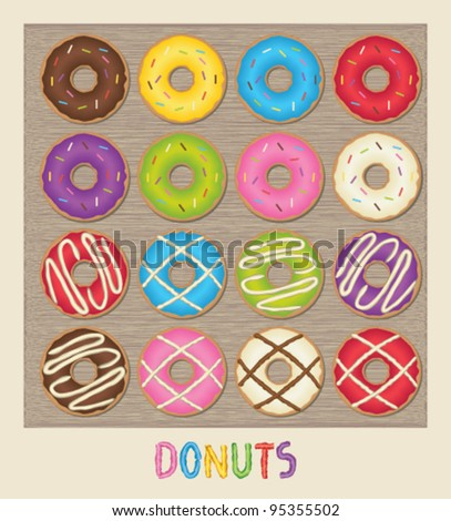 Colorful poster with donuts - stock vector