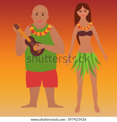 Colorful poster with family vacation, romantic weekend, tropical rest, time off on Hawaii islands, Man with ukulele hawaiian guitar and woman in hula dress  - stock vector