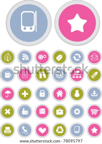 colorful presentation buttons icons, signs, vector - stock vector
