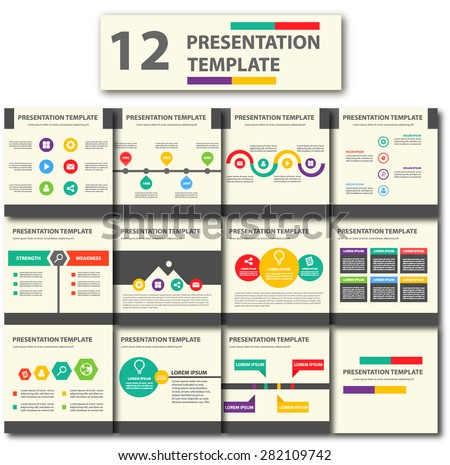 Colorful Presentation template brochure flyer design set - stock vector