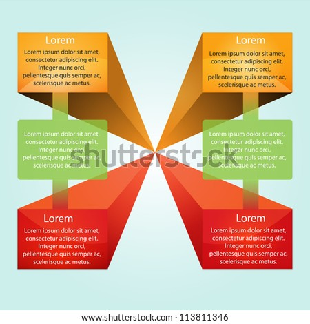 colorful presentation with 6 text box - stock vector