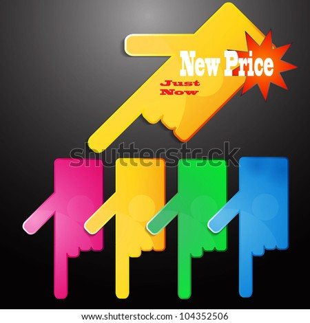 colorful price bilboard set - stock vector