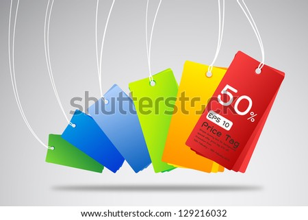 colorful price tag. - stock vector