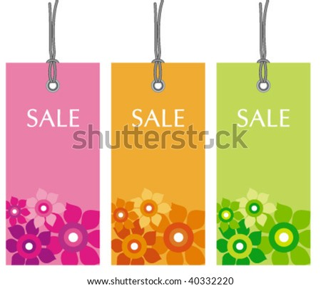 colorful price tags - stock vector