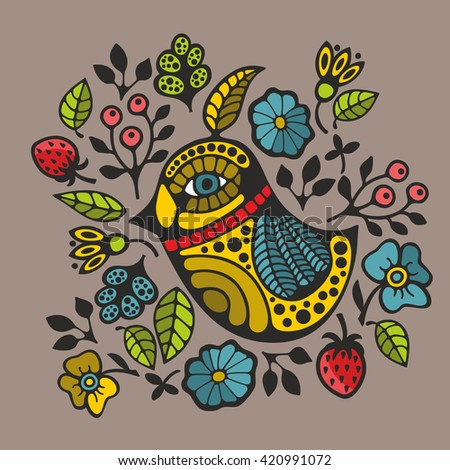 Colorful print with decorative bird and flowers. Vector illustration. - stock vector