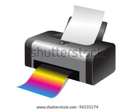 Colorful printer - stock vector