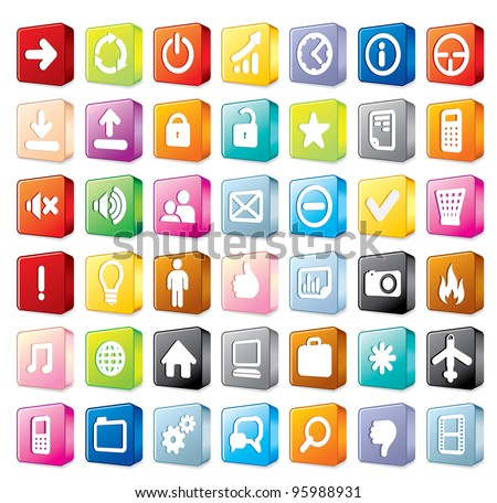 Colorful Program and Interface Icons Isolated on White Background, 3D vector icon set - stock vector
